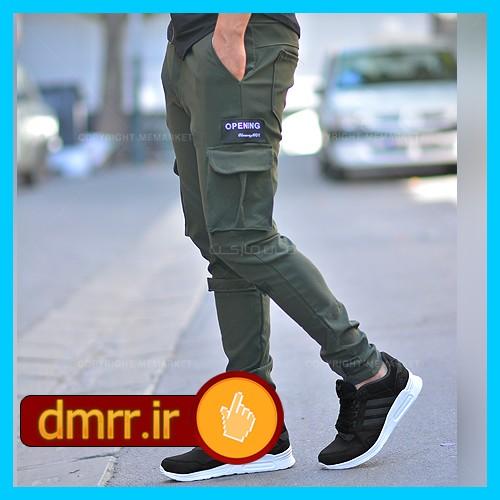 شلوار اسلش جیب دار مردانه رنگ سبز کتان بنگال