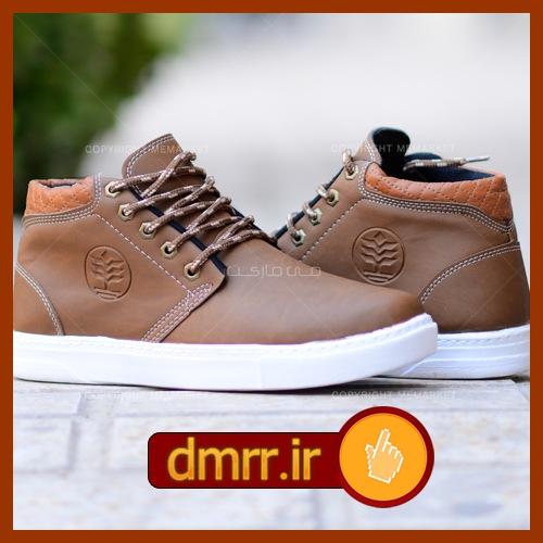 کفش رنگ قهوه ای دور دوزی شده مردانه
