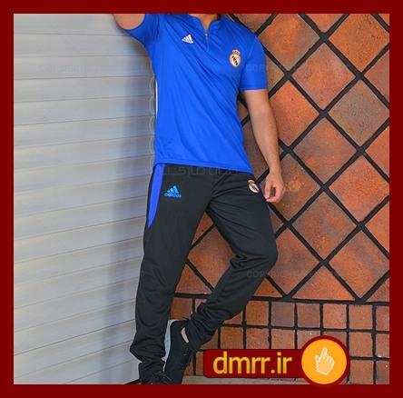 فروش تیشرت آبی و شلوار مشکی مردانه ادیداس