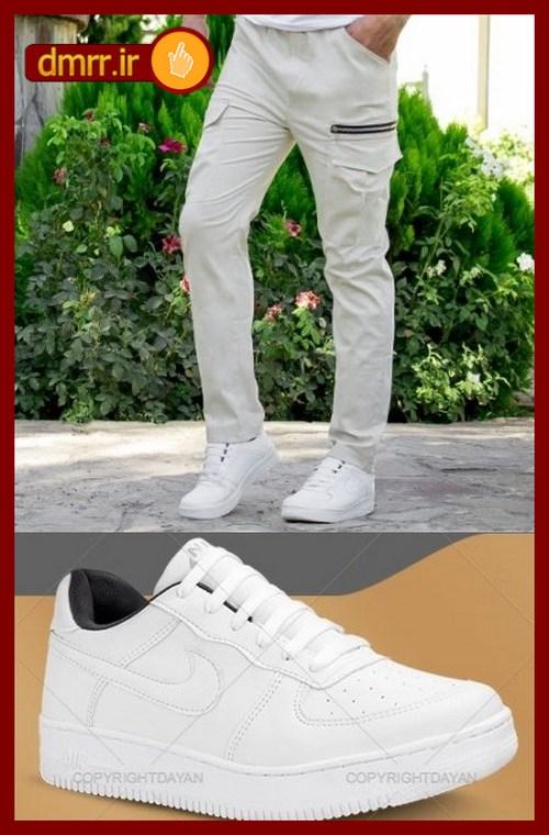 خرید ست شلوار کتان و کفش سفید مردانه ارزان قیمت