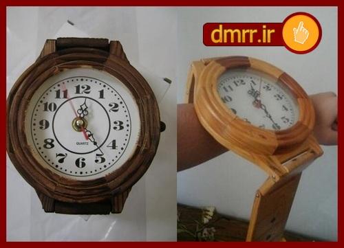 خرید اینترنتی پستی فروش آنلاین ارزان قیمت ساعت دیواری چوبی دستساز ساعت چوبی سنتی چوبی کلاسیک فانتزی مدرن ساعت دیواری چوبی قدیمی رنگ قهوه ای دکوری مدل ساعت مچی