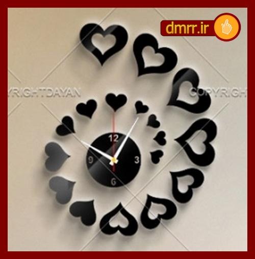 خرید ساعت دیواری عاشقانه باران قلب