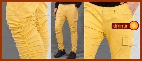 ست شلوار رنگ خردلی و کفش مشکی دور دوزی شده مردانه