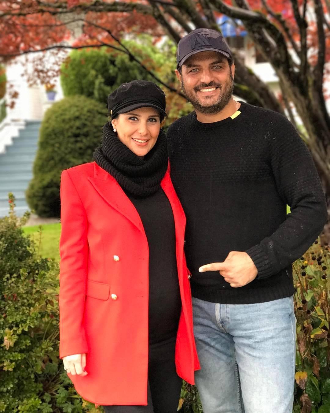 سام درخشانی با همسر باردارش