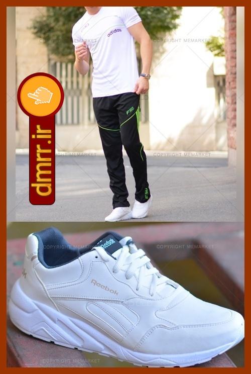 خرید ست تيشرت سفید و شلوار مشکی و کفش سفید