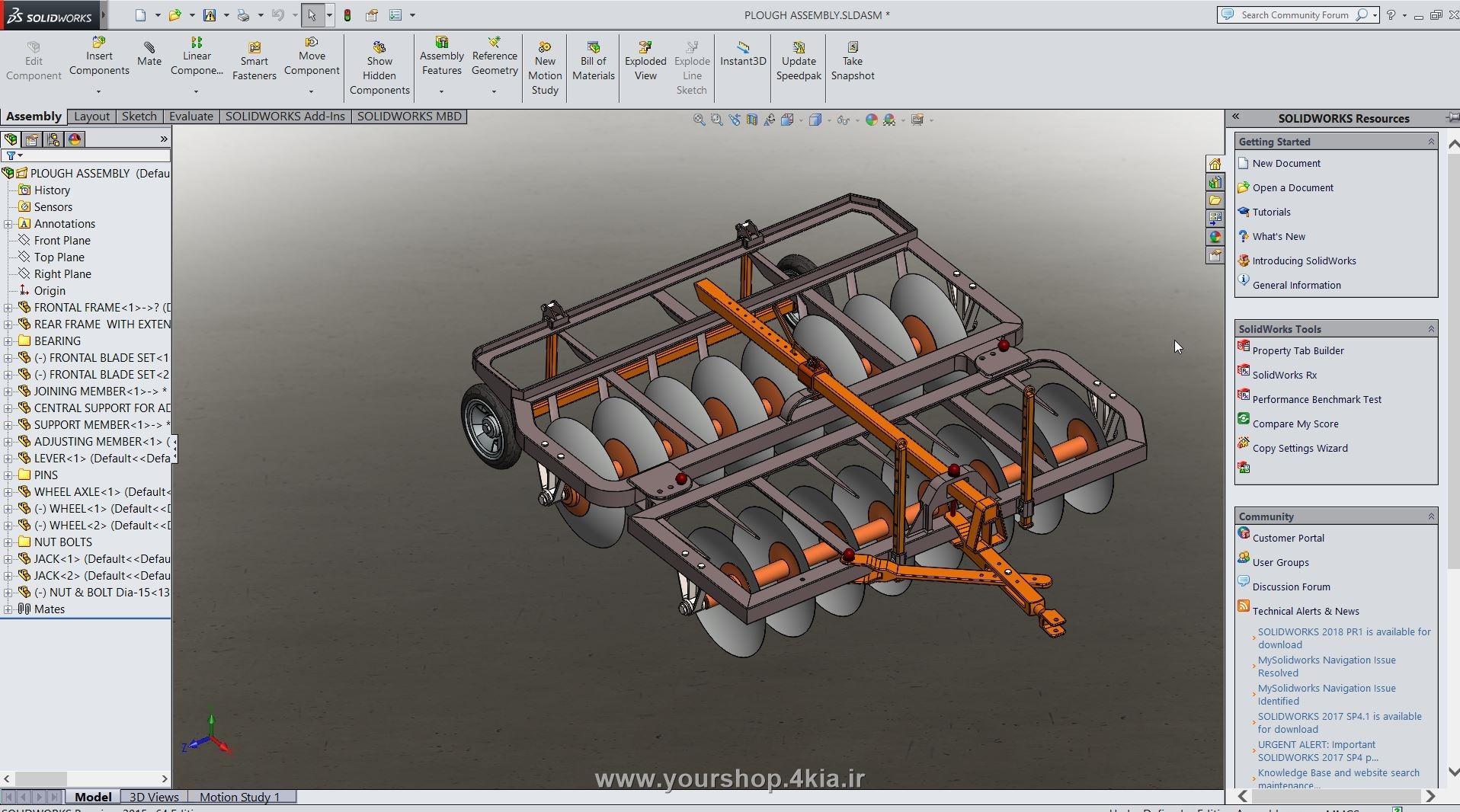 طراحی دیسک در solidwork ، آموزش سالیدورک ، طراحی ادوات کشاورزی در سالیدورک ، اندازه قطعات دیسک کشاورزی