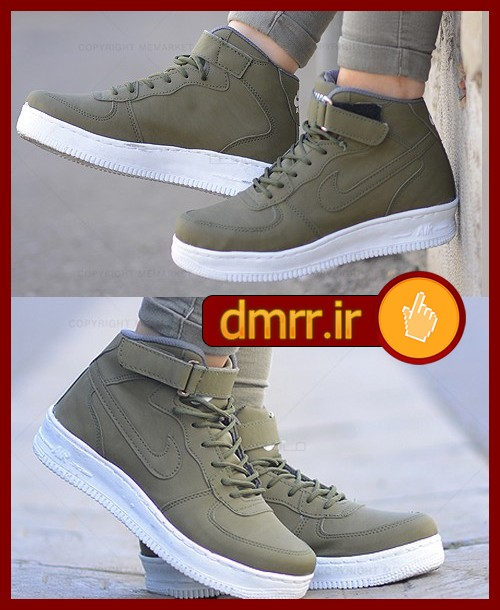 خرید اینترنتی کفش دخترانه رنگ سبز زیتونی بندی و چسبی