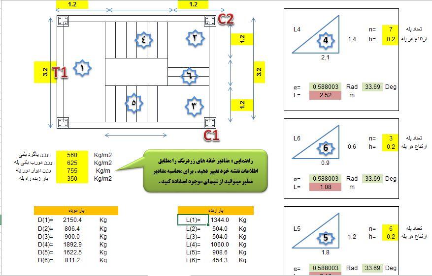 نرم افزار بسیار مفید محاسبه وزن راه پله دو و سه طرفه برای ETABS