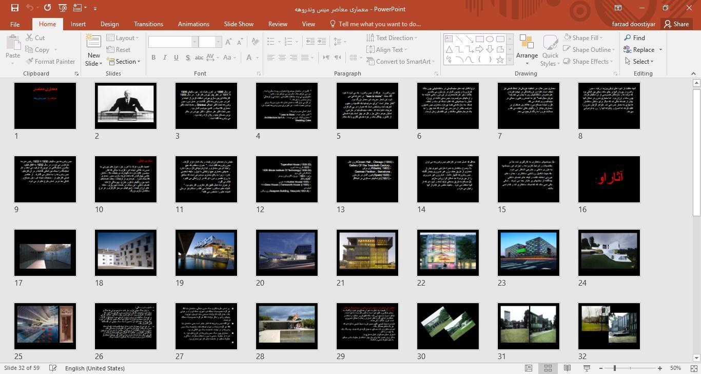 پروژه پاورپوینت معماری معاصر با موضوع میس وندروهه
