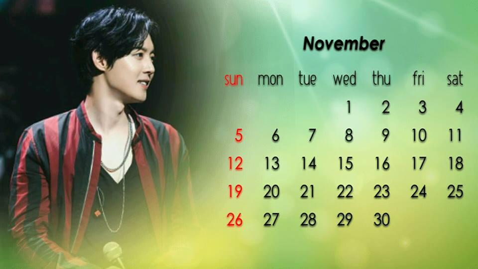 Calendar of November 2017