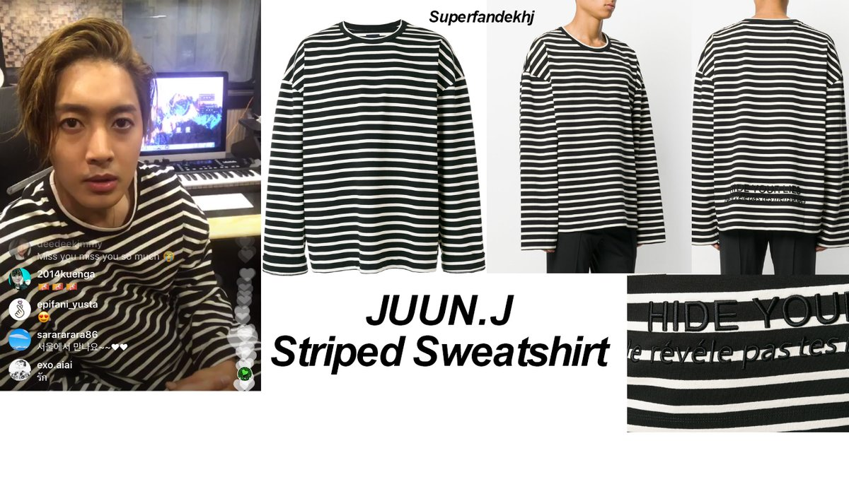 [Sponsor] The Long Sleeve Juun.J Striped Sweatshirt that Kim Hyun Joong Carries During His Insta Live [2017.11.30]