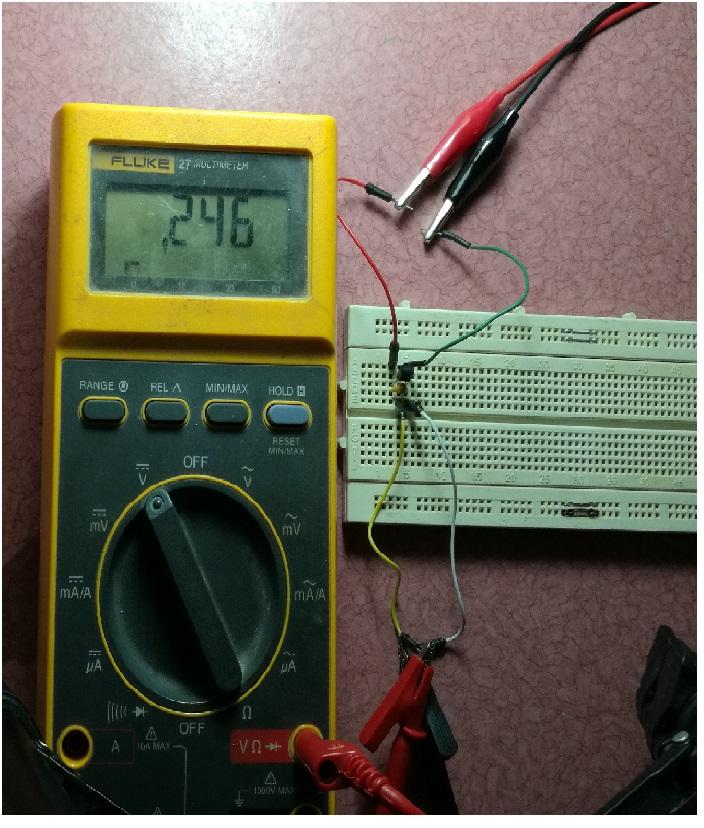 خروجی مدار LM35 در حال ساده