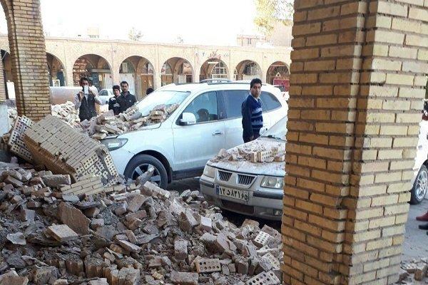 ریزش بخشی از دیوار میدان ارگ کرمان