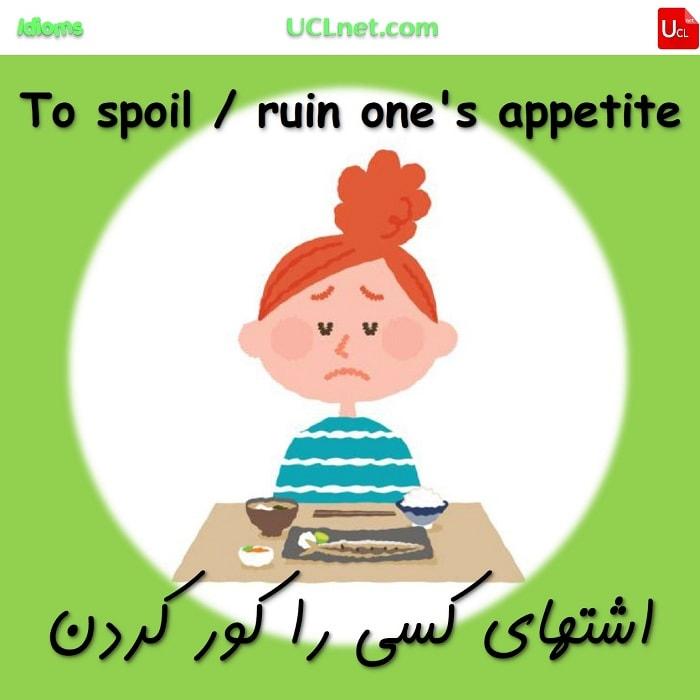 اشتهای کسی را کور کردن – To spoil / ruin one's appetite – اصطلاحات زبان انگلیسی – English Idioms
