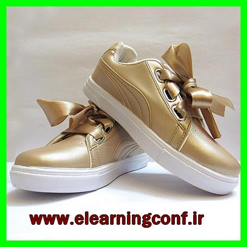 کفش کتانی فانتزی دخترانه طرح پاپیونی نسکافه ای طلایی