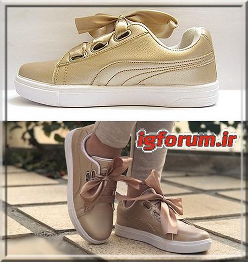 کفش کتونی فانتزی دخترانه نسکافه ای مدل پایپونی