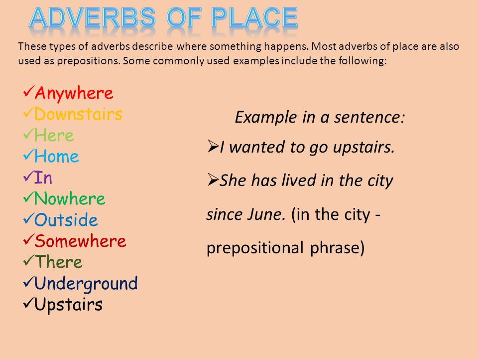 Adverbs Of Place Examples Sentences Image Collections Example