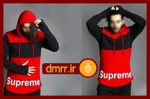 خرید اینترنتی هودی مردانه Supreme رنگ مشکی قرمز