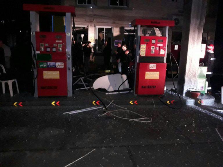 انفجار پمپ بنزین طالع در کمربندی لیلاکوه شهرستان لنگرود
