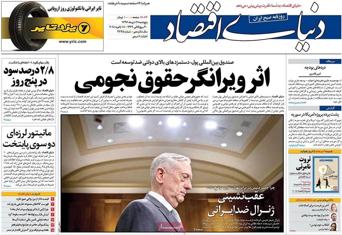 روزنامه های 28ام دی