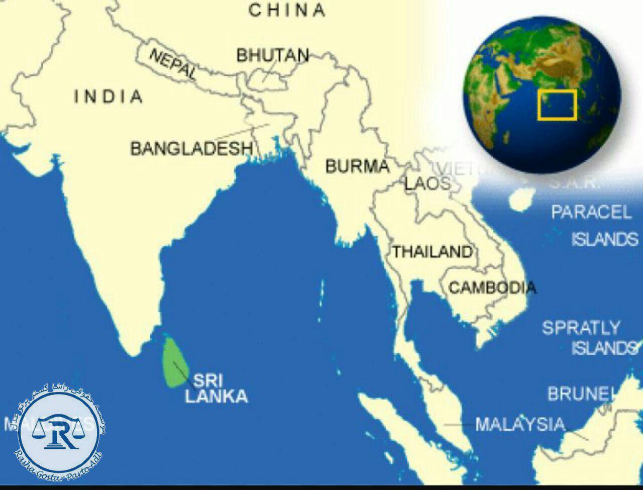 موقعیت سری لانکا در نقشه