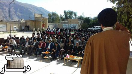 نواختن زنگ انقلاب در مدرسه شبانه روزی عفت بابامیدان