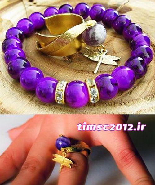ست دستبند انگشتر زیبا مجلسی دخترانه سنگ amethyst