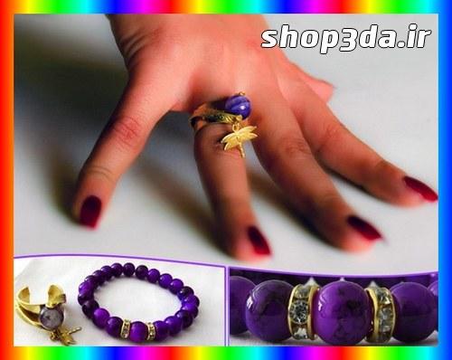خرید آنلاین دستبند و انگشتر آویز سنجاقک سنگ آمیتیس