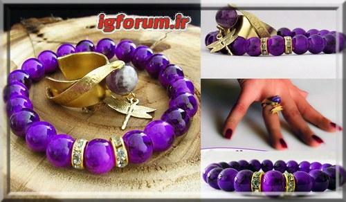 خرید انگشتر دستبند سنگ آمیتیس دخترانه زنانه