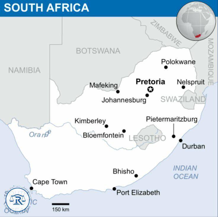 موقعیت آفریقای جنوبی در نقشه جهان