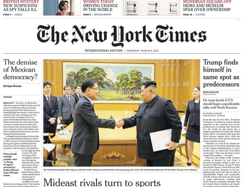 International New York Times 08 March 2018