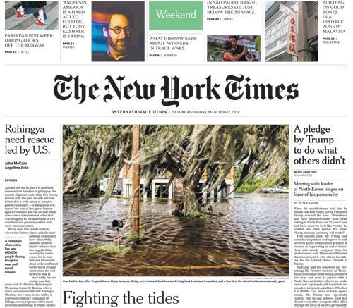International New York Times 10-11 March 2018