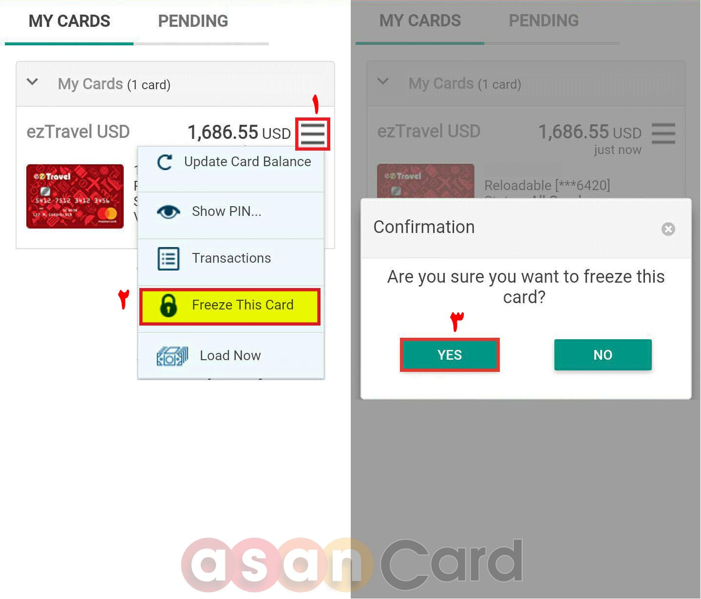 Freeze Card mobile Version