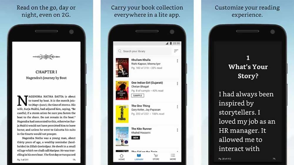Amazon Kindle Light بهترین اپلیکیشن های اندروید تا اوریل 2018