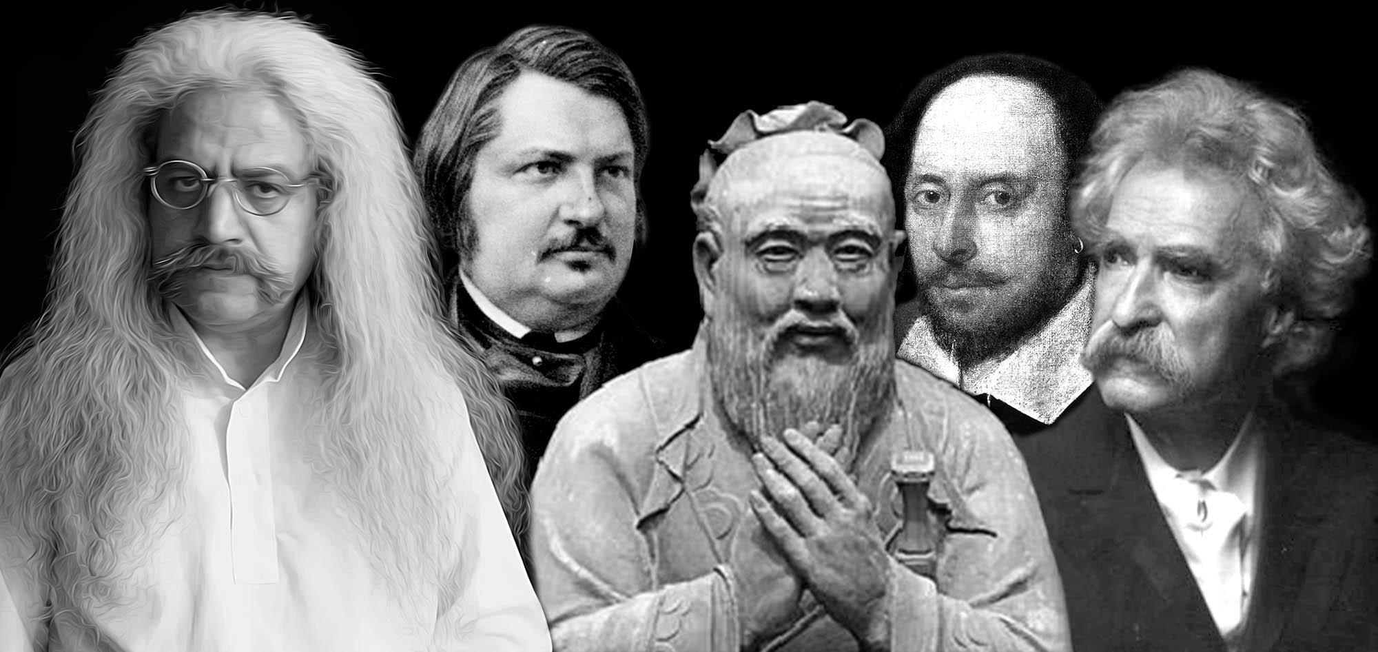 ویلیام شکسپیر، مارک تواین، کنفوسیوس، حکیم ارد بزرگ، ویلیام شکسپیر -شاعر ملی انگلستان، مارک تواین -نویسنده و فکاهی نویس، کنفوسیوس مشهورترین فیلسوف چین، حکیم ارد بزرگ - بزرگترین فیلسوف، عکس سخنان بزرگان، جملات دانشمندان همراه با عکس