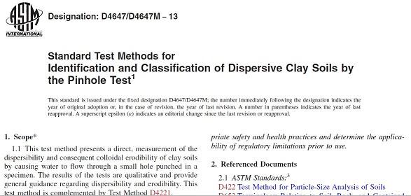 دانلود رایگان استاندارد آزمایش پین هول برای تشخیص خاکهای واگرا - ASTM D4647/D4647M − 13