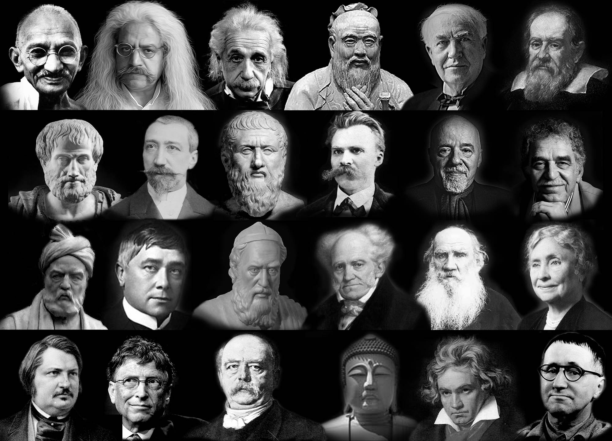 Photo by Galileo Galilei, Photo by Thomas Edison, Photo by Confucius, Photo by Albert Einstein, Photo by Hakim Great Orod, Photo by Mahatma Gandhi Photo by Gabriel Garcia Marquez, Photo by Paulo Coelho, Photo by Friedrich Wilhelm Nietzsche, Photo by Plato, Photo by Anatole Franz, Photo by Aristotle Photo by Helen Keller, Photo by Leo Tolstoy, Photo by Arthur Schopenhauer, Photo by Hakim Khayyam Neyshaburi, Photo by Maurice Mettelink, Photo by Hakim Ferdowsi Tusi Photo by Bertolt Brecht, Photo by Ludwig van Beethoven, Photo by Seedartha Gautama Buddha, Photo by Otto von Bismarck, Photo by Bill Gates, Photo by Anwar du Balzac