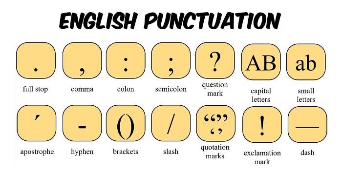 علائم نگارشی در زبان انگلیسی - English punctuation