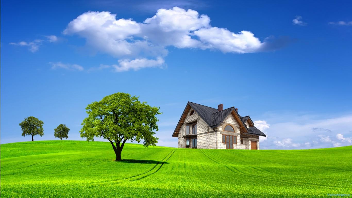 تصویر زمینه زیبا خانه در مزرعه سبز