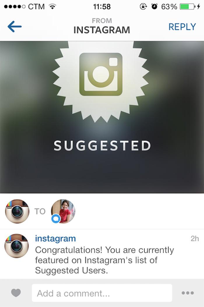 انتخاب به عنوان کاربر منتخب توسط اینستاگرام