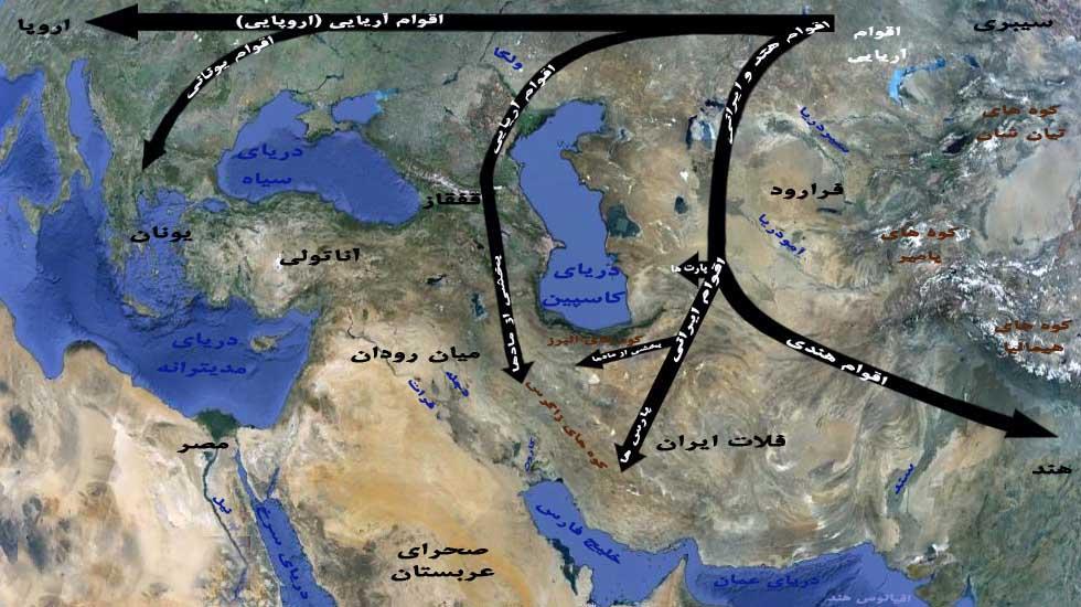 نقشه ورود آریایی ها به ایران