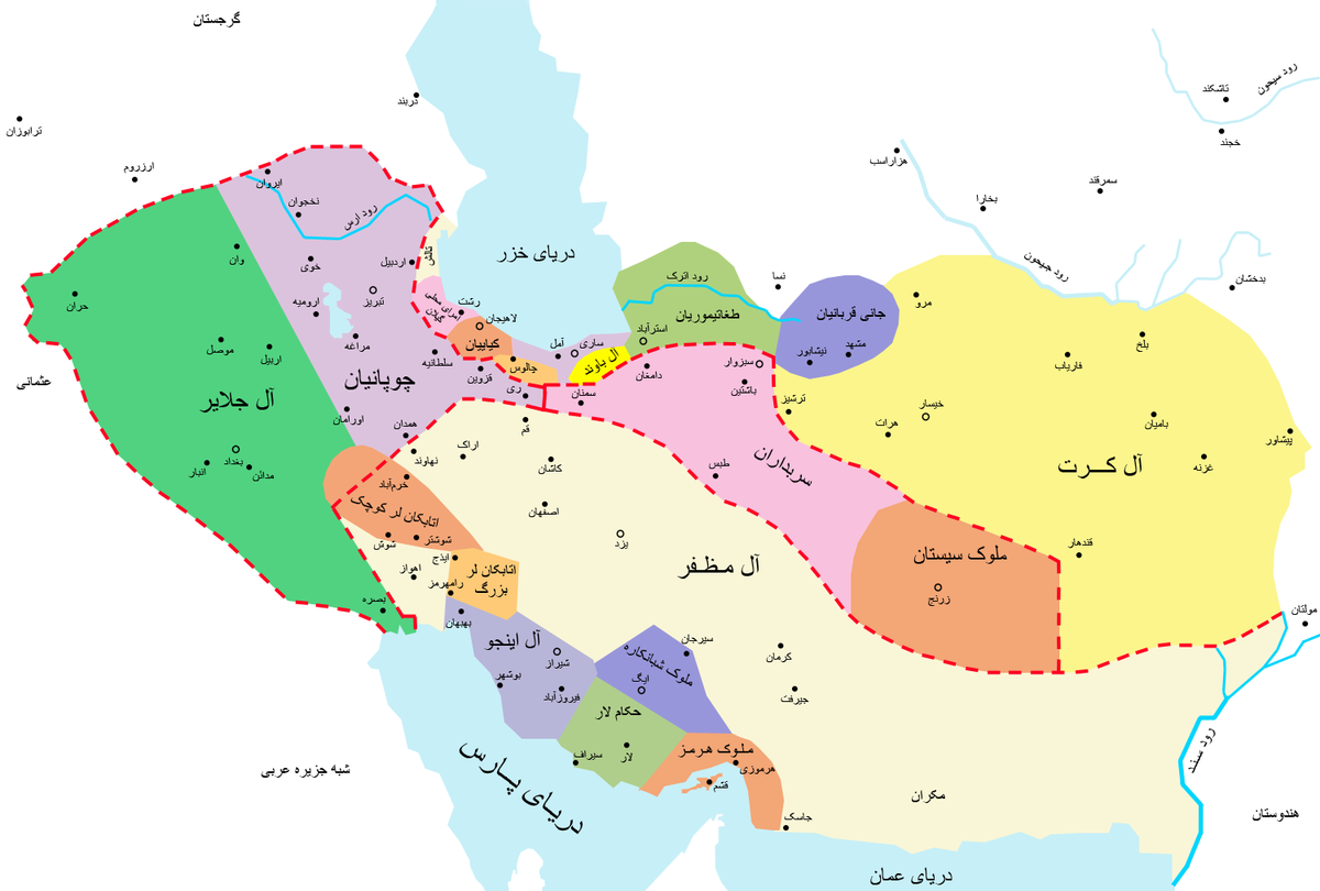 نقشه قلمرو ملوک الطوایف