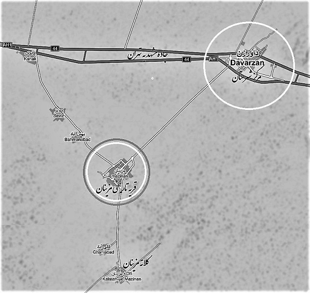 نقشه موقیعت مزینان نسبت شهر داورزن مرکز شهرستان و جاده تهران به مشهد