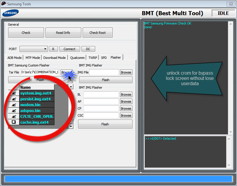 By bmt pro unlock crom Samsung w/o losting data and