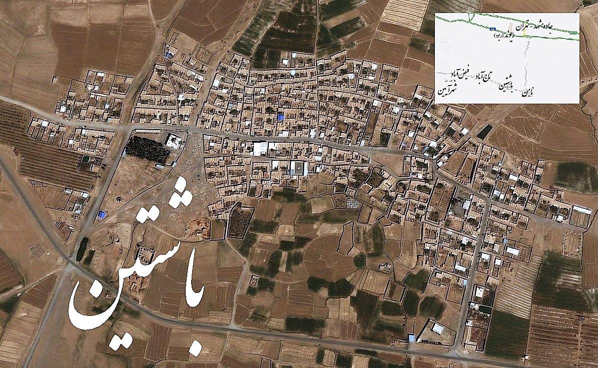 تصویر ماهواره ای و موقعیت جغرافیایی روستای باشتین