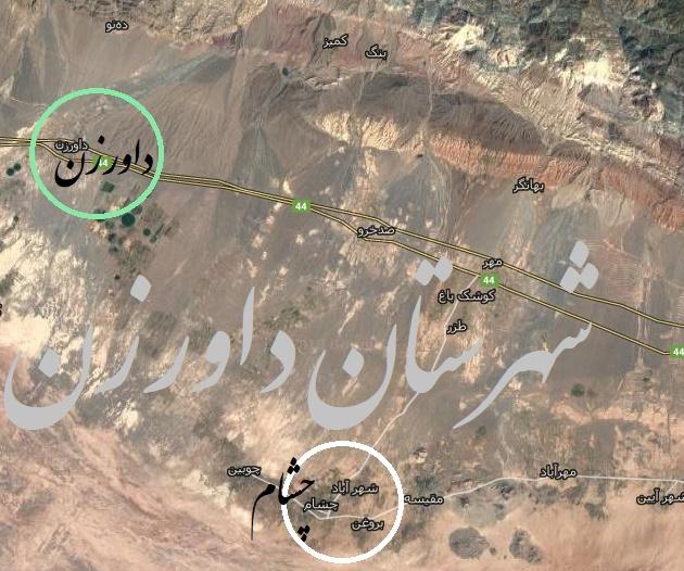 موقعیت روستای چشام در شهرستان داورزن