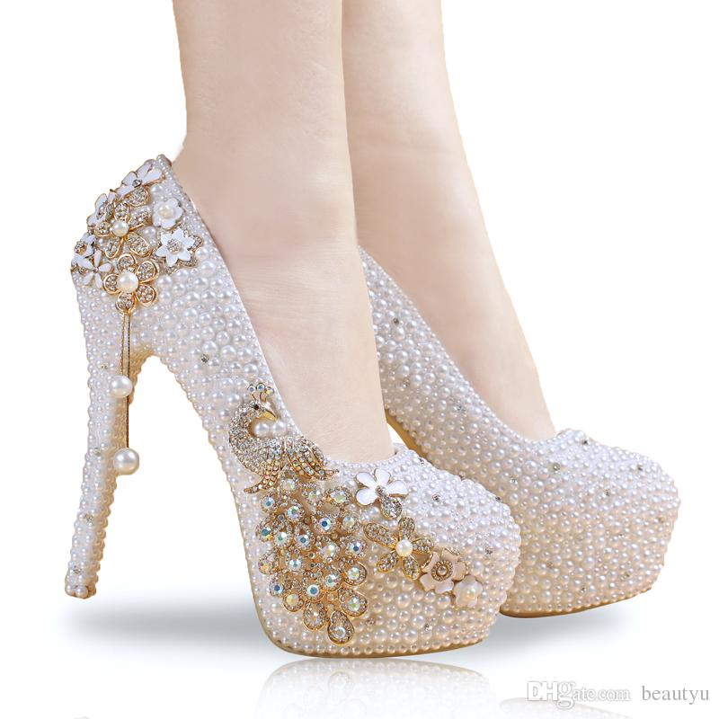 کفش عروس کفش سفید پاشنه بلند عروس زیبا