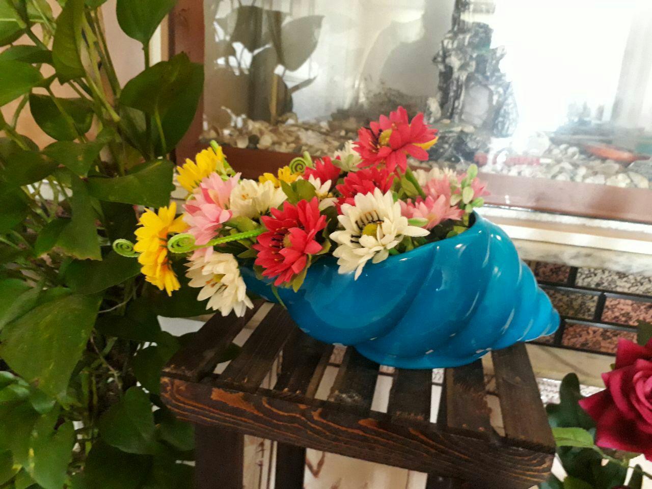 گلدان تزیینی حلزون دریایی آبی