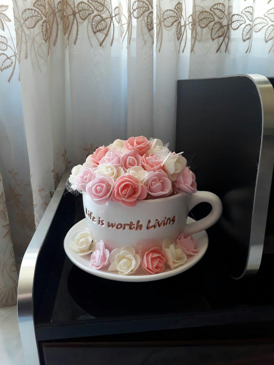 فنجان گل رزتزیینی صورتی