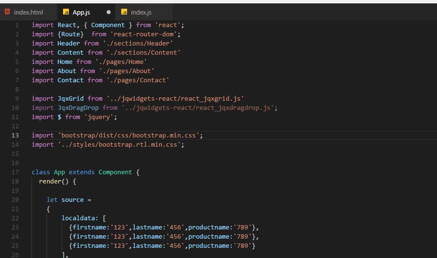 problem in react grid dragdrop - Javascript, HTML5, jQuery